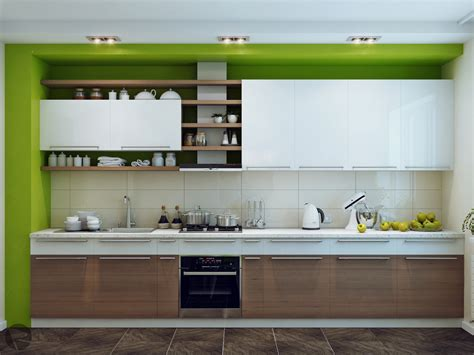 Green White Wood Kitchen Interior Design Ideas White And Wood Kitchen Cabinets