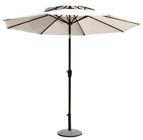 Modern Patio Umbrellas 9 Outdoor Market Aluminum 2 Layer Umbrella White Modern Outdoor Umbrellas By Adeco
