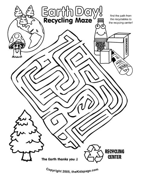 recycle coloring pages preschool earth day recycling maze activity sheet free coloring