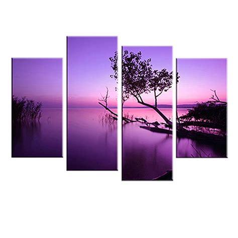 purple printable wall art 4 pcs set landscape purple lake canvas prints wall art