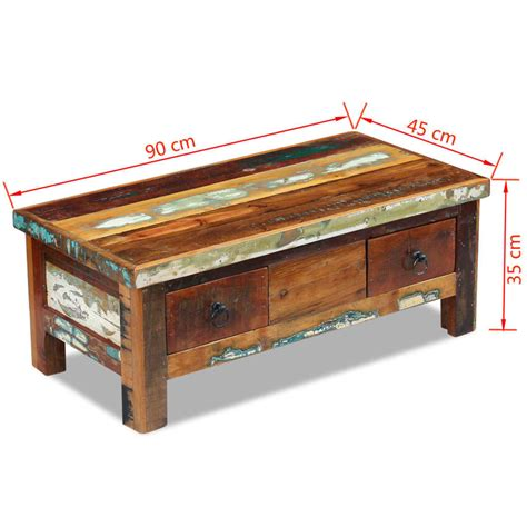 solid wood coffee table with drawers vidaxl coffee table drawers solid reclaimed wood 90x45x35