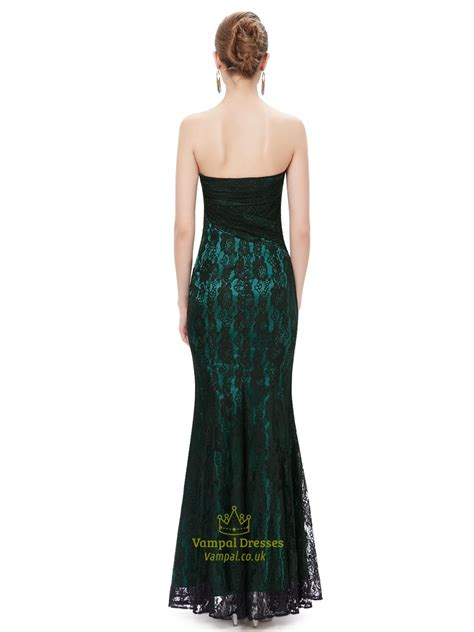 Dress Green Black black and green strapless mermaid prom dresses with lace overlay val dresses