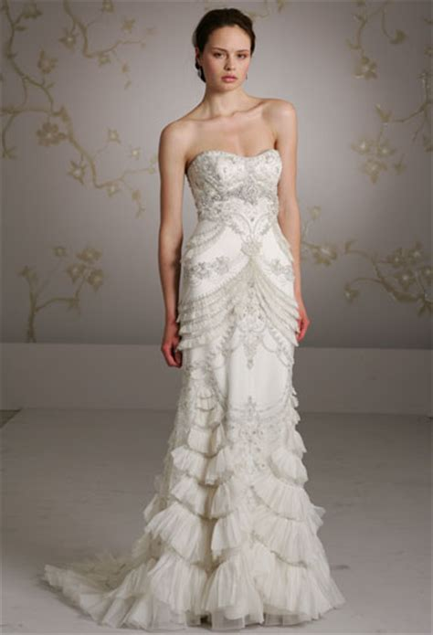 Kain Premium Organza Silk Original lazaro 3059 size 4 wedding dress oncewed