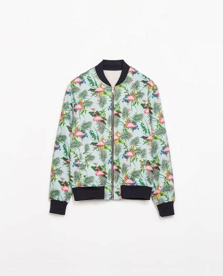 Flamingo Jacket zara flamingo jacket in blue for sky blue lyst