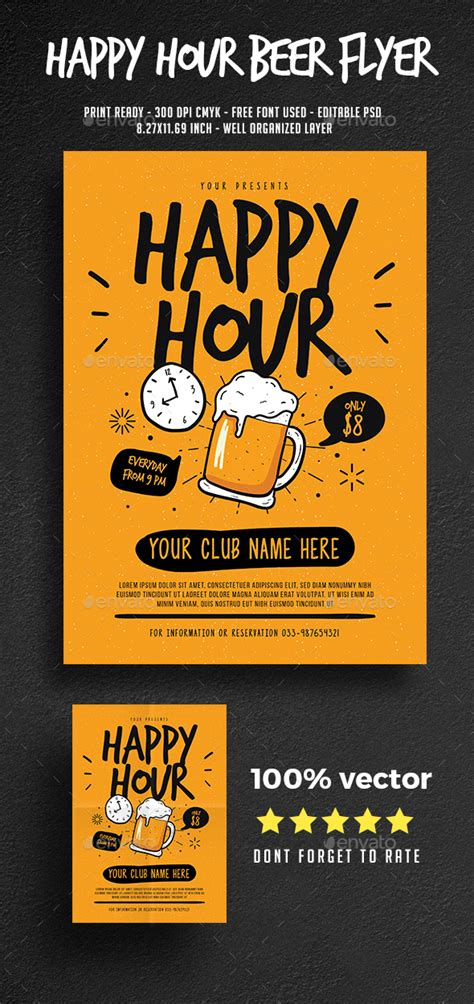 Happy Hour Beer Flyer By Guper Graphicriver Happy Hour Flyer Template Free