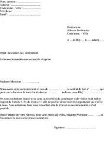 modele lettre resiliation bail par locataire document