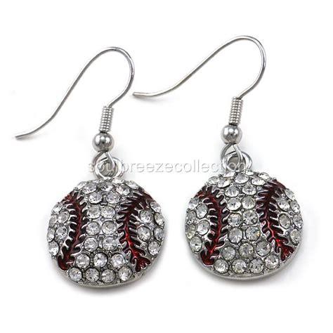 clear baseball dangle earrings silver tone sport