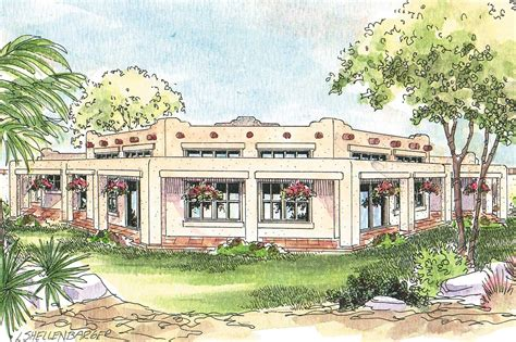 Southwest Style Home Plans | southwest house plans santa fe 11 127 associated designs