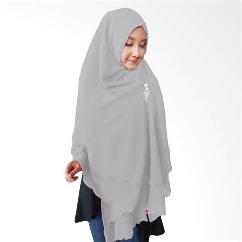 jual milyarda hijab oki panjang kerudung syari abu abu