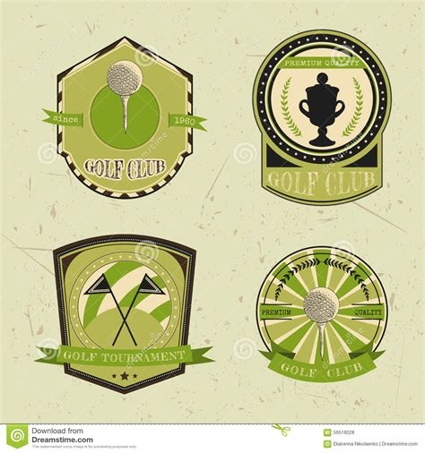 Set Of Golf Club Logo Templates Vintage Sport Labels With Golf Ball Chionship Cup And Flags Golf Tournament Logo Template