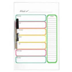 Kitchen Chalkboard Ideas Colorful Weekly Planner Dry Erase Boards Zazzle