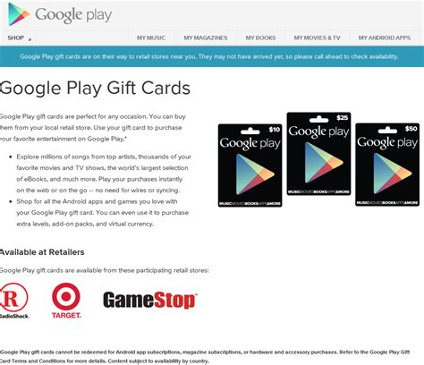 Google Play Gift Card Online Purchase - google play gift cards landing page goes live purchase locations listed science and