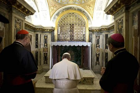 where to put st pope francis prays in clementine chapel the place closest
