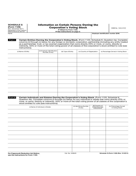 business tax return form 1120 form 1120 schedule g information on certain persons