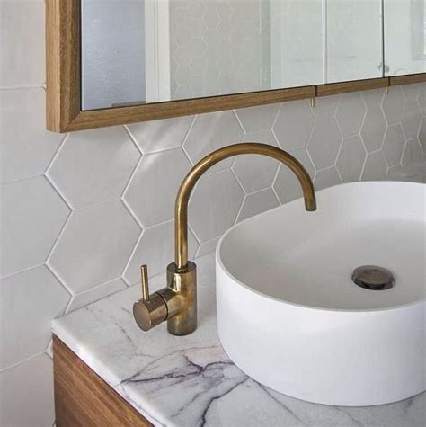 bathroom splashback ideas bathroom splashback benchtop hexagon tiles from tile