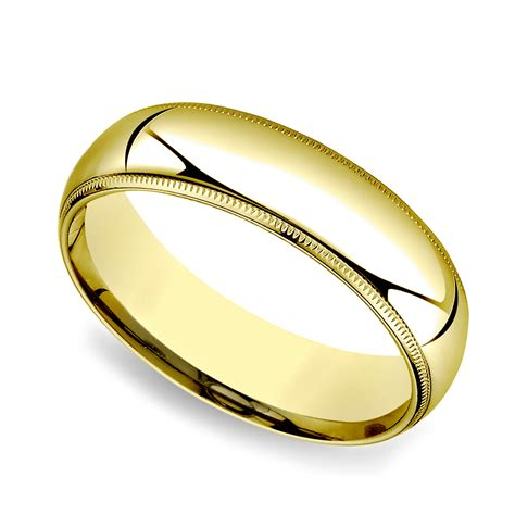 mens gold comfort fit wedding bands milgrain comfort fit men s wedding band in yellow gold 6mm