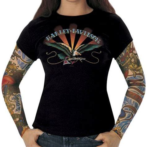 long sleeve tattoo harley davidson womens anchored layer look black