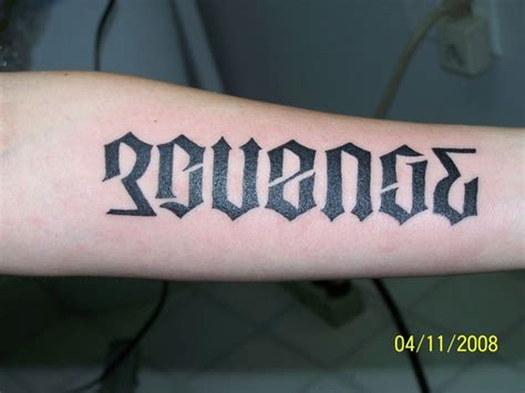 revenge tattoo ambigram tattoos and designs page 208
