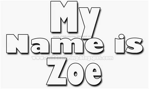 Zoe Coloring Pages free coloring pages of the name zoe