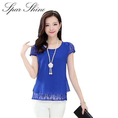 Blouse Wanita Chiffon Size L 5zwlab blusas femininas 2016 summer tops lace stitching chiffon blouse shirt blouses