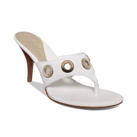 white high heel mules guess womens bonnien high heel mules in white lyst