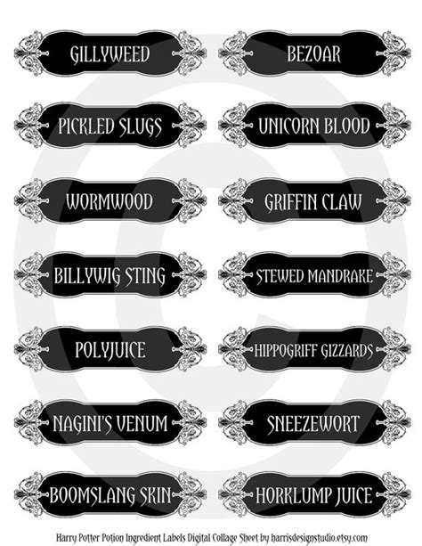 printable ingredient tags printable labels for purchase from etsy harry potter