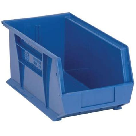 edsal 3 4 gal stackable plastic storage bin in blue 12