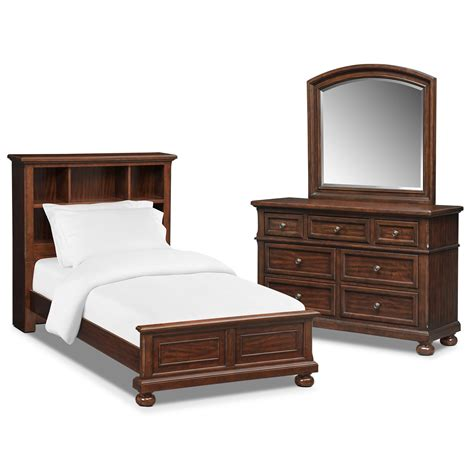 Hanover Youth 5 Piece Twin Bookcase Bedroom Set Cherry Signature Furniture Bedroom Sets