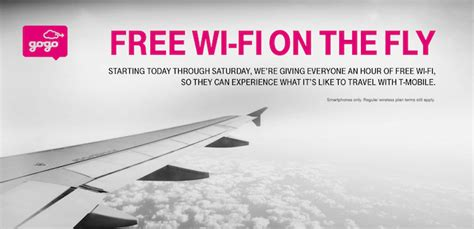 gogo inflight t mobile flying this week get an hour of free inflight wifi thanks