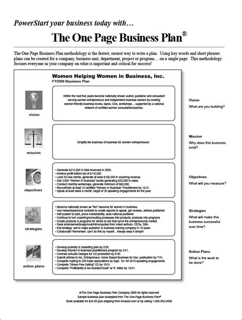 one page proposal template plan one page business example small