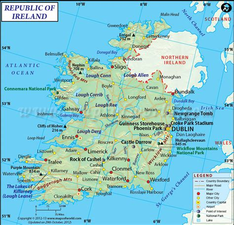 map of ireland with major cities ireland map maps of the world