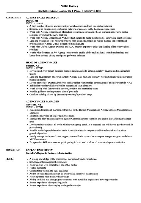 Agency Sle Resume by Agency Sales Resume Sles Velvet