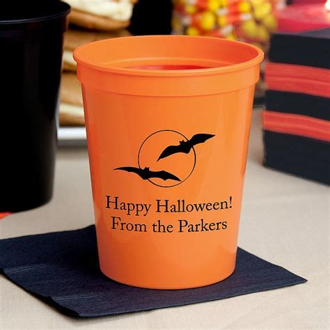 Halloween Party Cups   16 Oz. Plastic Stadium Personalized