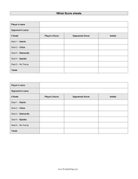 Whist Score Cards Templates by Printable Whist Scoresheet