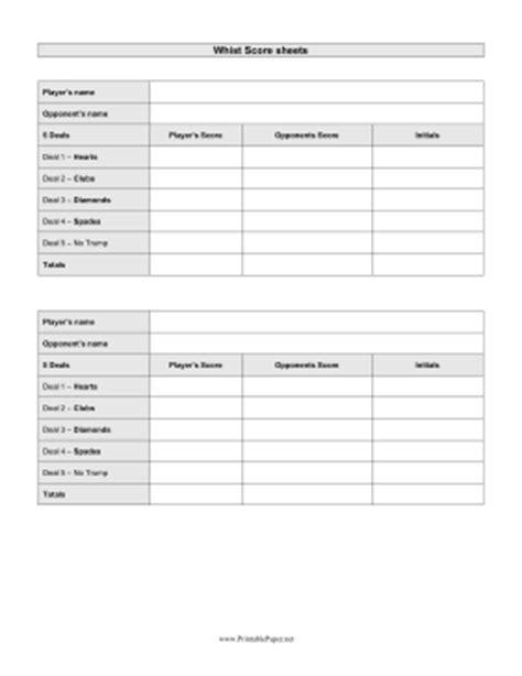 whist score cards templates printable whist scoresheet