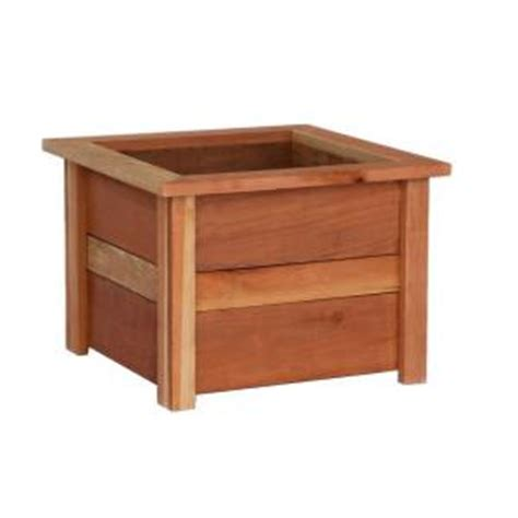 home depot wooden planters hollis wood products 22 in square redwood planter box 12028 the home depot