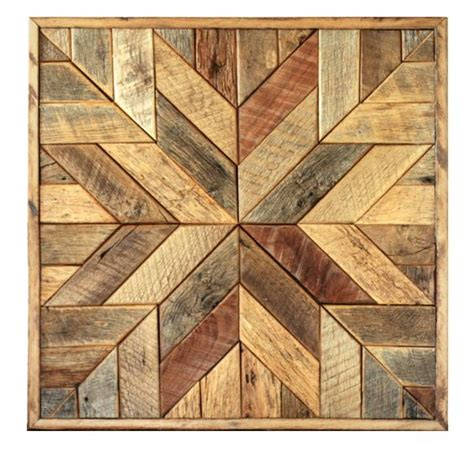 reclaimed wood quilt square   geometric wall art