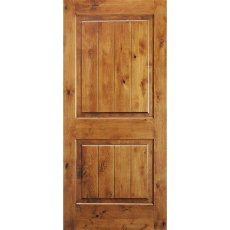 Solid Wood Closet Doors Krosswood Doors 30 In X 96 In Knotty Alder 2 Panel Square Top V Groove Solid Wood Right