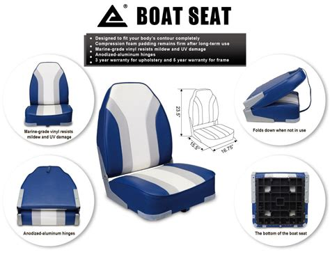 leader boat seats for sale new high back rainbow marine boat seat blue gray ebay