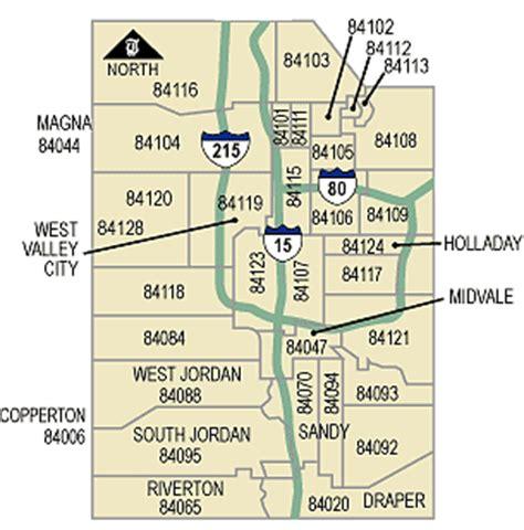 zip code map ut west jordan zip code map