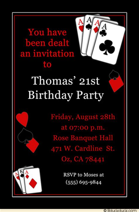 Casino Vegas Birthday Party Invitation Poker Blackjack 21st Birthday Invitation Card Template