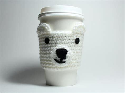 java pattern holder polar bear coffee cozy crochet animal drink sleeve can holder