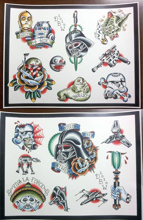 tattoo flash sets star wars themed tattoo flash set 20 00 via etsy
