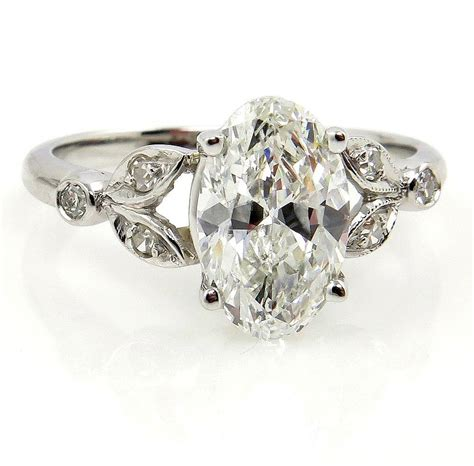 vintage 2ct oval cut engagement wedding ring in