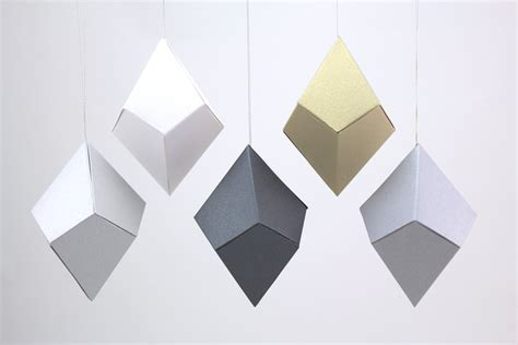 Geometric Origami Patterns - geometric paper gem ornaments trapezohedron shimmery
