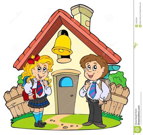 imagenes de escuelas inteligentes peque 241 a escuela con los cabritos en uniformes ilustraci 243 n