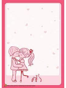 Exemple De Lettre Valentin A Imprimer Papier 224 Lettre Avec Deux Amoureux 233 Changeant Un Petit Bisou Cartes Papier 224