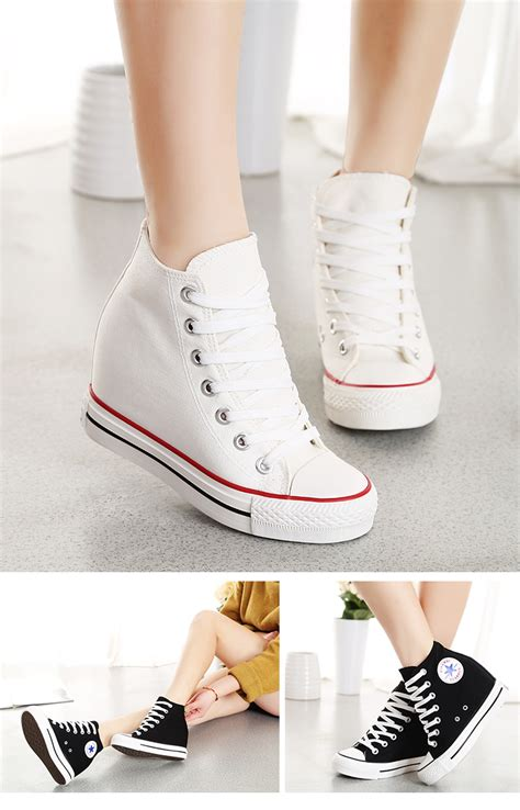 wedge sports shoes s canvas lace up wedge high top sneakers