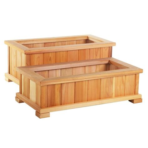 wood country rectangle cedar wood boise patio planter