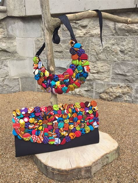 beauty of pattern matching collar like necklace made of colorful buttons with ankara
